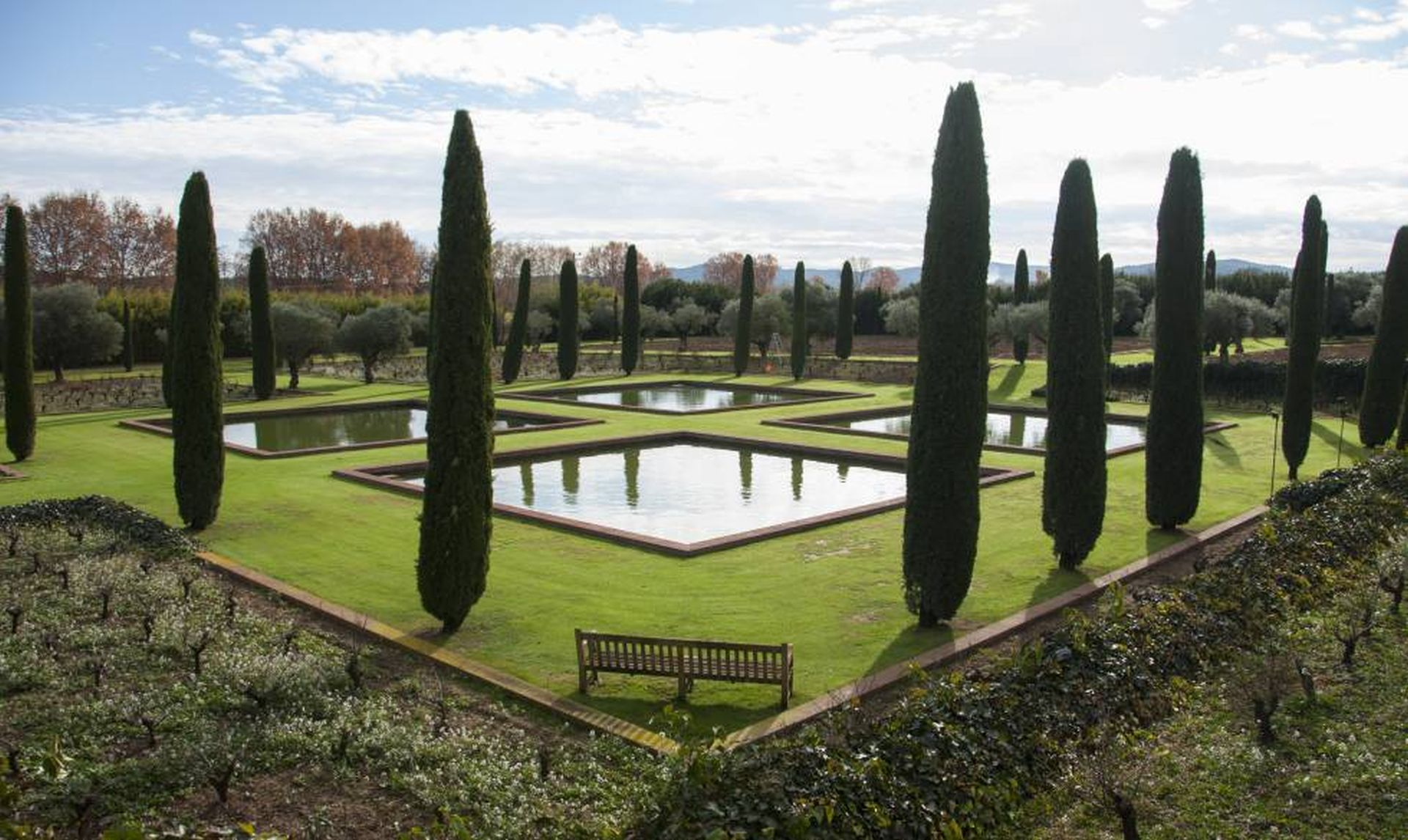 Four squares with water surrounded by meadow and long bushes by one of the Best landscapers