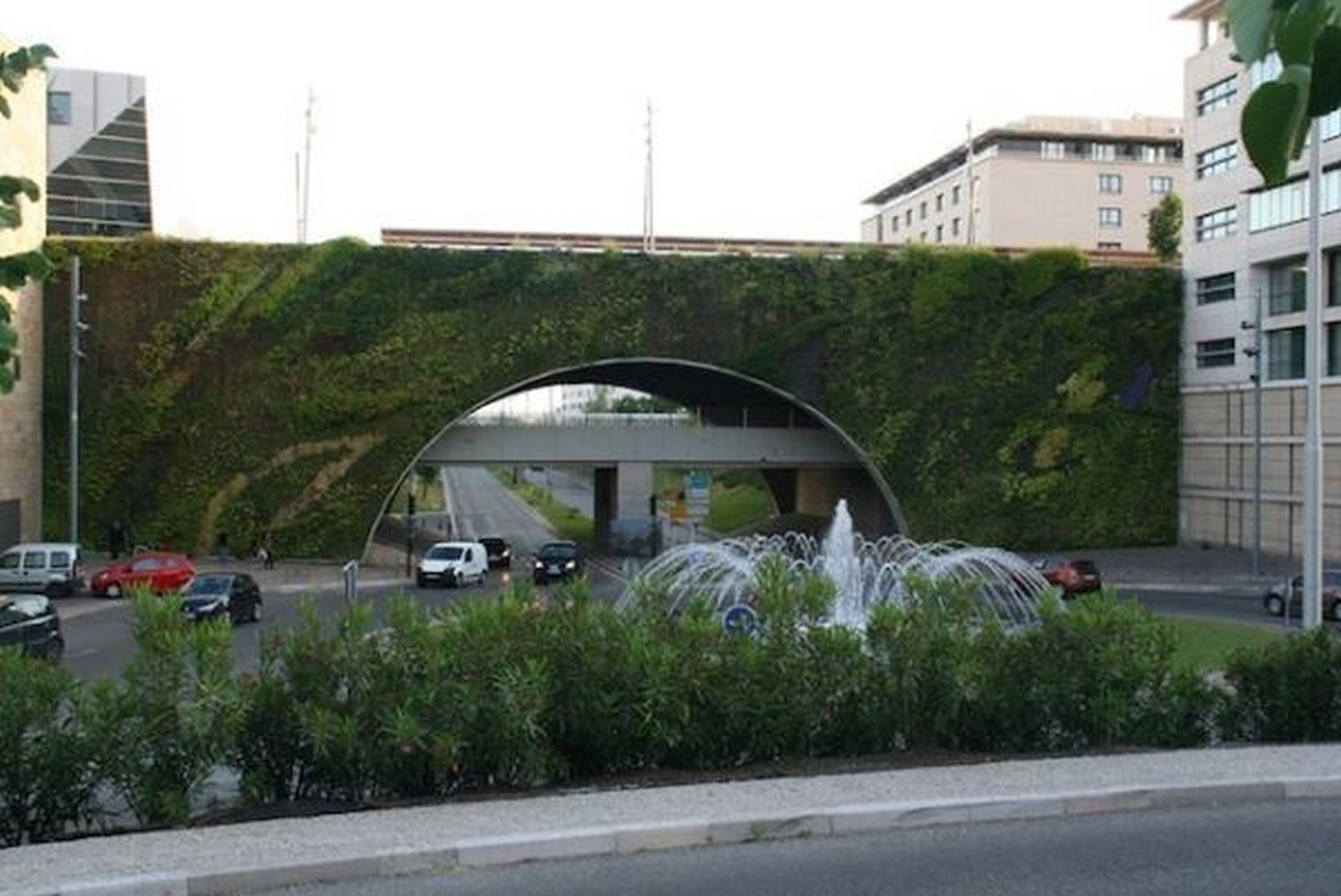 bridge with a meadow on its walls with different paths between each other