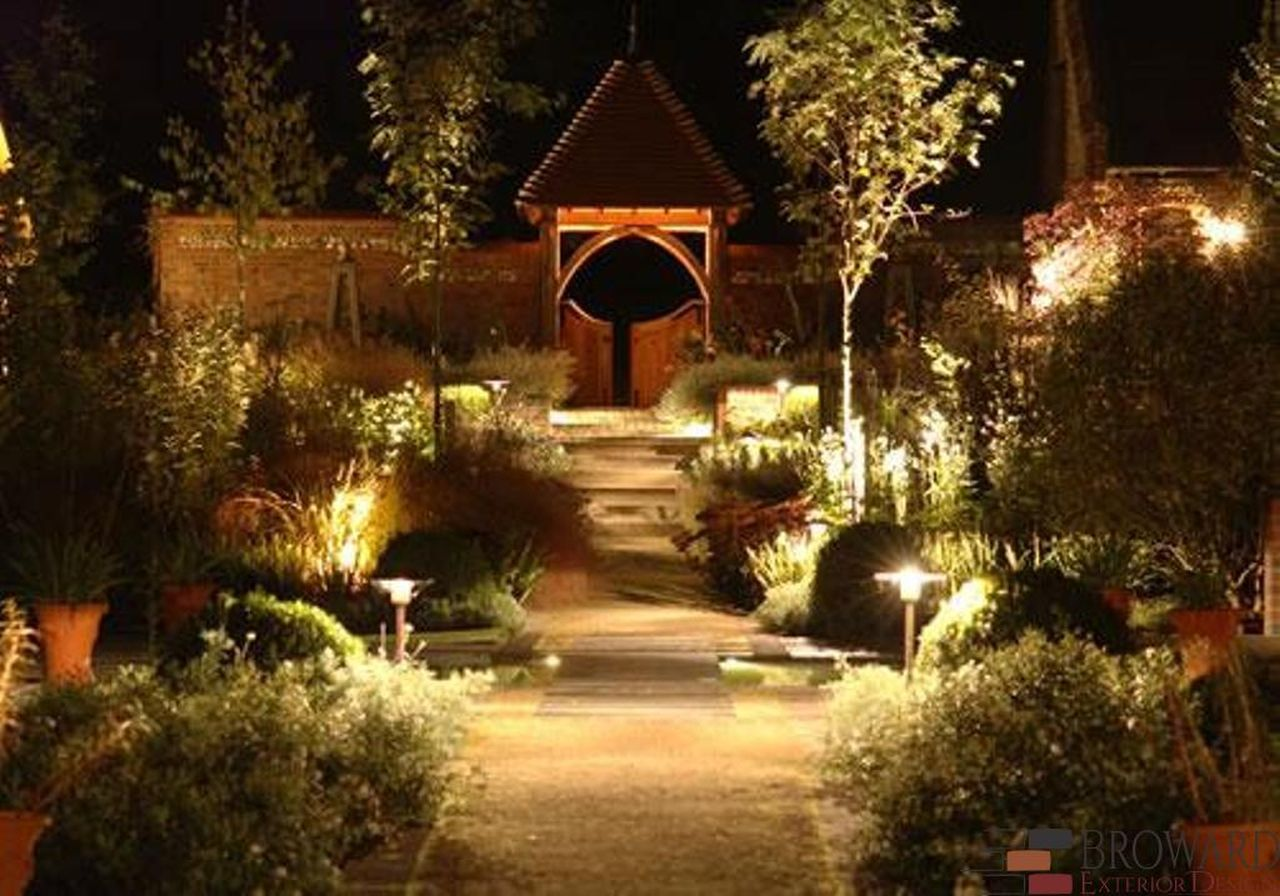 Example of outdoor lighting in a garden at night