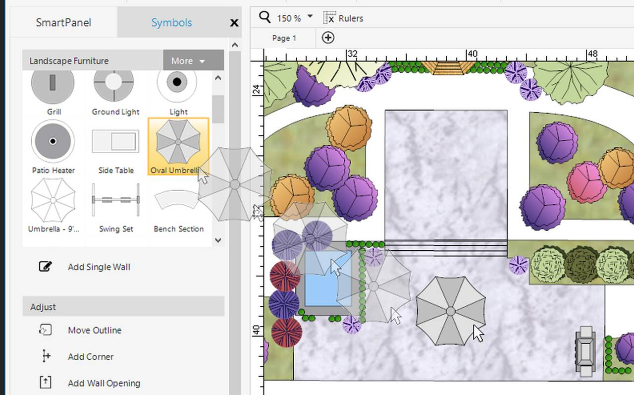 tool that shows different options for editing a garden in a plan.